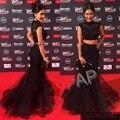 Sxey Negro Encaje Sirena Vestidos de Baile Larga Con Cuentas de Lentejuelas Para Mujer Dos 2 Unidades de Baile vestidos de Noche Vestidos De Graduación