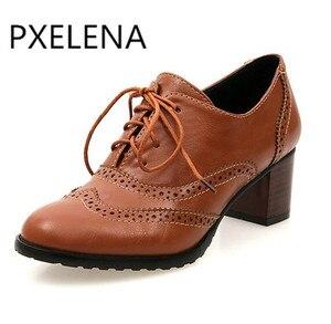 Image 3 - Женские туфли броги PXELENA, винтажные Туфли оксфорды на шнуровке, с массивными блочными вырезами, на каблуке, размера плюс, 2019