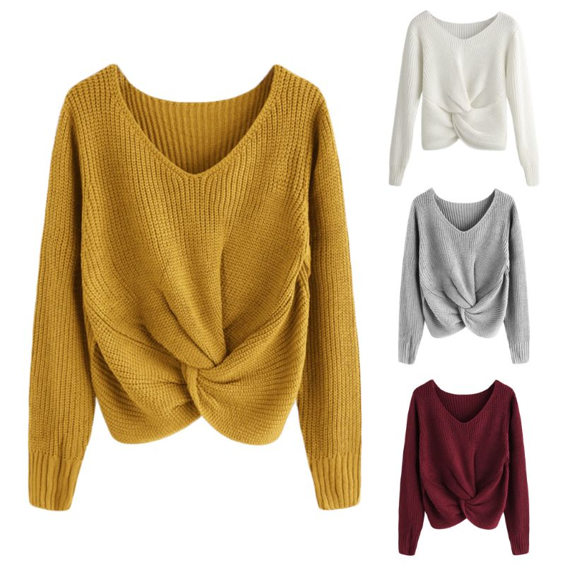 e539c5087f Sheinside Pink V Neck Twist Front Chunky Sweater Casual Pullover Womens  Sweaters 2018 Fall Winter Tops For Women Knitted Sweater
