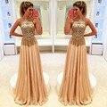 Moda 2016 Custom made sexy Vestido de Baile frisada de cristal brilhante Chiffon Até O Chão Longo vestido de noite vestido de festa