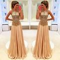 Moda 2016 Por Encargo sexy con cuentas Vestido de Fiesta brillante crystal Gasa Piso-Longitud vestido de noche Largo vestido de festa