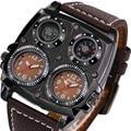 Relógios Dos Homens OULM Legal Dos Esportes Casuais relógio de Pulso de Quartzo com Pulseira de Couro Bússola Militar Dial Oversize 2 Time Zone Relógio DZ homens