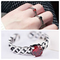 2017 Retro Sterling Sliver S925 Circle BIG Twist Carnelian Thai Silver Resizable Ring NOT Allergy Lady Gifts Tires TE10012