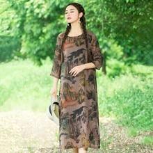 Китайский Пейзаж Стиль Платье Осенью Три Четверти Рукав Лоскутное Блузка Большой Размер Повседневная Шифон Бархат Длинное Платье Женщины