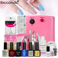 Nail Art Tools Kit 36W Pink UV Lamp Nail Dryer  4 Colors Gel Polish Base Top Coat Cleanser Liquid Remover Stickers Manicure Set