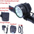 2 IN 1 Led Headlamp Headlight BIke Light  7*Cree XM-L T6 3 Modes 10000LM Bicycle Light With 6*18650 Battery Pack + Charger