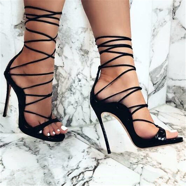 902a83b01fc US $155.0 |Lace Up Gladiator Sandals Women Pumps Black Cutouts Summer Shoes  Woman Back Zipper High Heel Stilettos Real Leather Shoes Size43-in Women's  ...