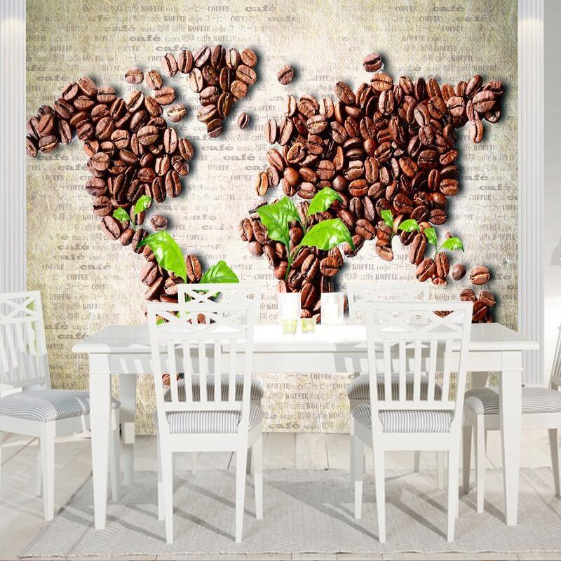 custom  photo wall mural wallpaper-3d Luxury Quality HD World Map beans innovative design original works large wall mural-3d