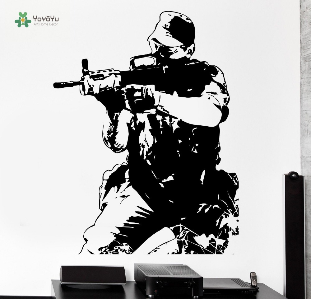 YOYOYU Wall Decal Boys Teen Bedroon Decor Wall Vinyl Soldier M16 Army Forces War Guaranteed Quality Poster YO100 ...