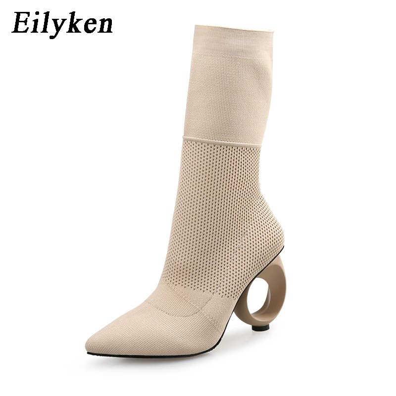 be1e3edc8 Eilyken женские ботильоны слипоны стильная женская обувь Острый носок  каблуки с узором женская обувь стрейч копить