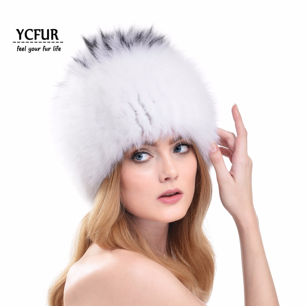 2016 New Arrival Women Fur Beanies Hats Winter Handmade Knit Fox Fur Caps Winter Natural Fox
