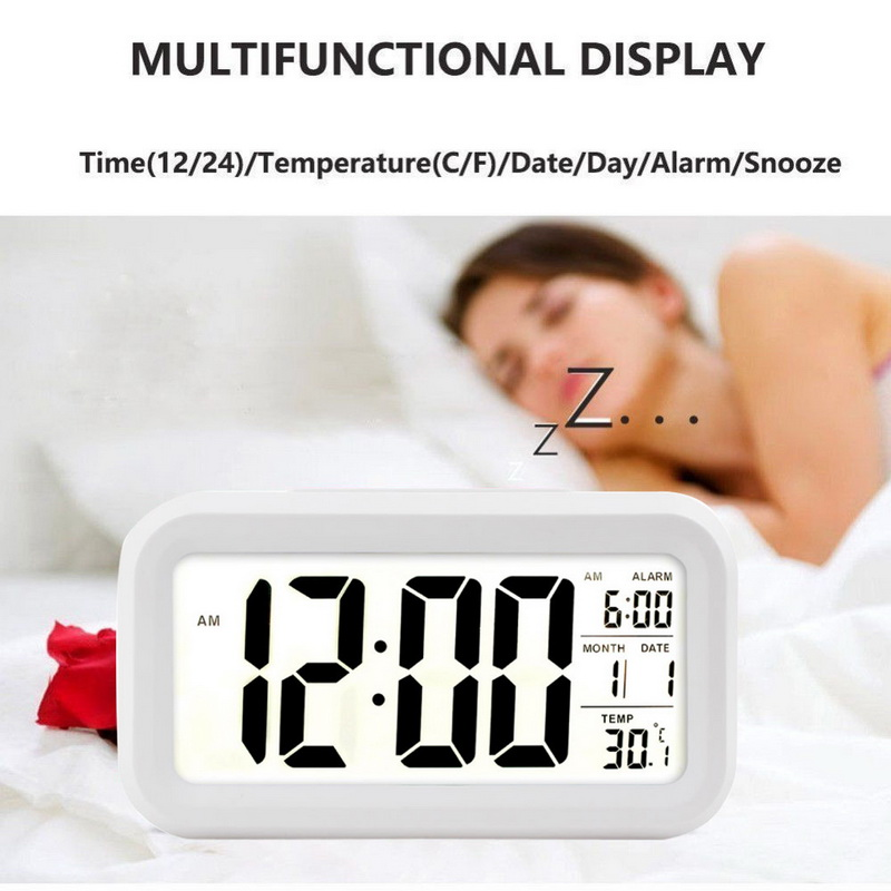 Digital Alarm Clock Led Snooze Table Clock  Electronic Smart Mute Clock Backlight Display Temperature & Calendar Snooze Function