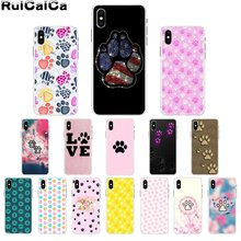 RuiCaiCa Dog paw Footprint Pattern TPU Soft Phone Cover for Apple iPhone 8 7 6 6S Plus X XS MAX 5 5S SE XR Cover lavaza ybn nahmir soft case for apple iphone 6 6s 7 8 plus 5 5s se x xs max xr tpu cover