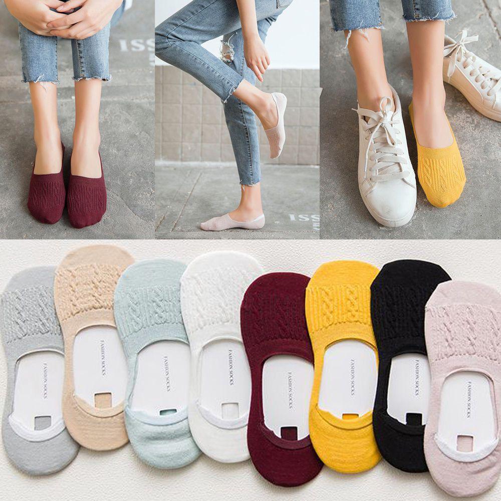 1 Paar Candy Farbe Unsichtbare Nicht-slip Low Cut Socken Mode Frauen Mädchen Casual Baumwolle Atmungsaktiv Ankle Boot Socken Großhandel