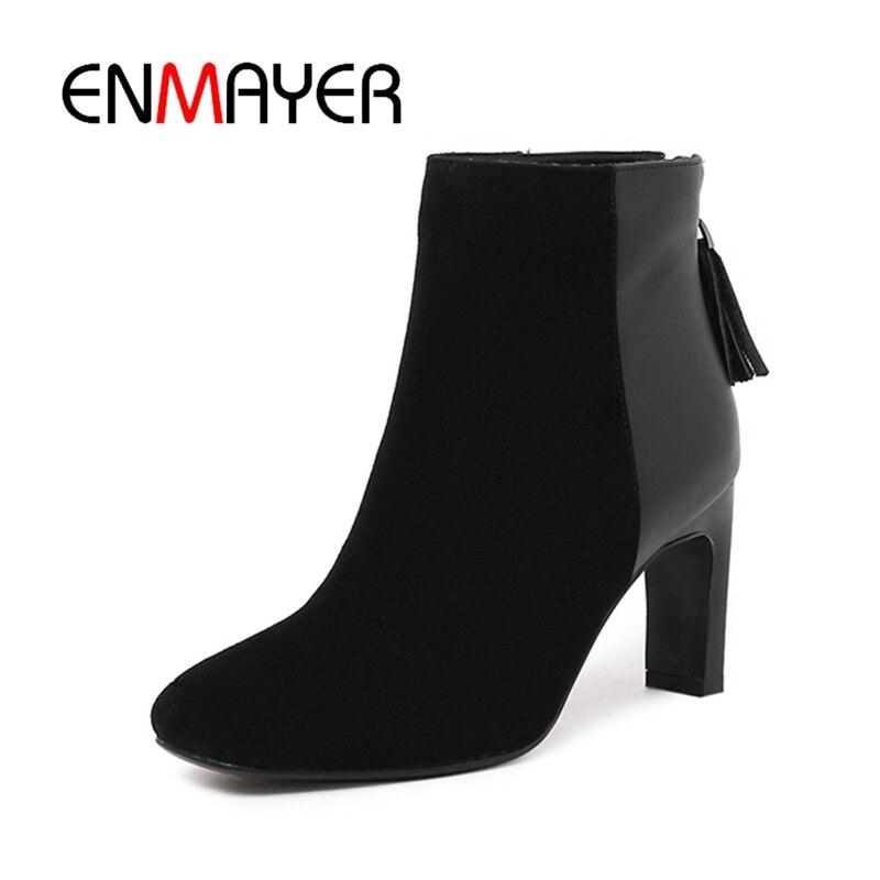 cal Femmes Peluche Patch Black Mode Suede Bottines Enmayer Courte 34 Taille De Chaudes Zipper Bottes Chaussures Hiver Cr415 Talons 39 Carré Toe Hoof BvF5qwq1