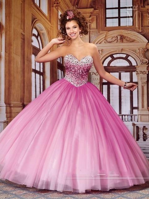 Neckline del amor moldeado cristalino rosado De Quinceanera Vestidos ...