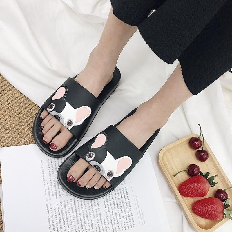 RASMEUP Leather Women's Slippers 2018 Summer Women Open Toe Beach Slippers Bulldog Seaside Shoes Indoor Home Casual Woman Slides