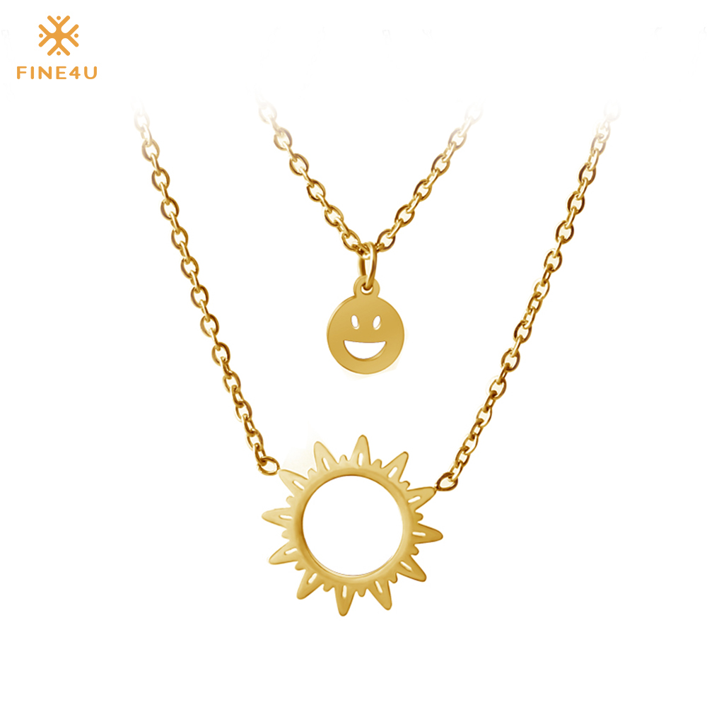 FINE4U N112 Double Layer Sun Pendant Necklace 316L Stainless Steel Choker Necklaces For Women 2019 Gold Collier JewelryFINE4U N112 Double Layer Sun Pendant Necklace 316L Stainless Steel Choker Necklaces For Women 2019 Gold Collier Jewelry