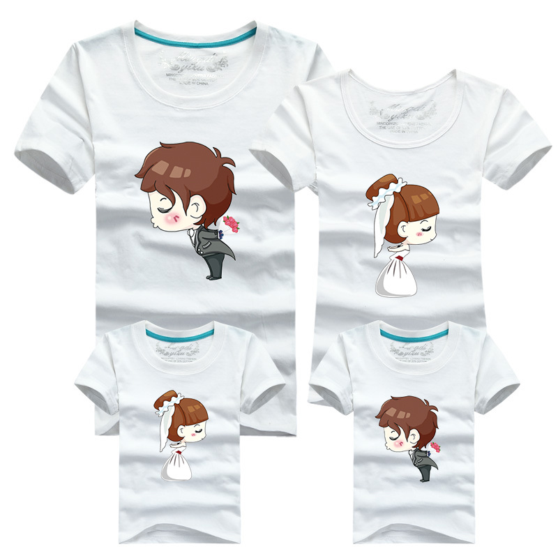 Matching Family Clothes 2016 Cartoon T font b shirt b font for Couples Male Sport T