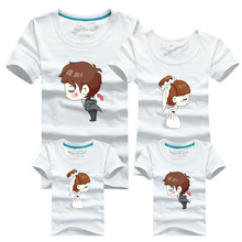 Matching Family Clothes 2016 Cartoon T-shirt for Couples Male Sport T Shirt Men Tshirt Poleras Hombre Skate Mother Father Baby