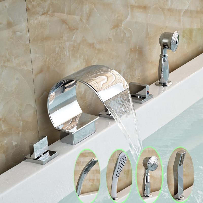Chrome Brass Finish 5 Pcs Waterfall Bathtub Sink Mixer Tap Bathroom Hand-held Shower Tub Faucet Set chrome brass finish 5 pcs long spout waterfall bathtub sink tap bathroom mixer hand held tub mixer faucet set