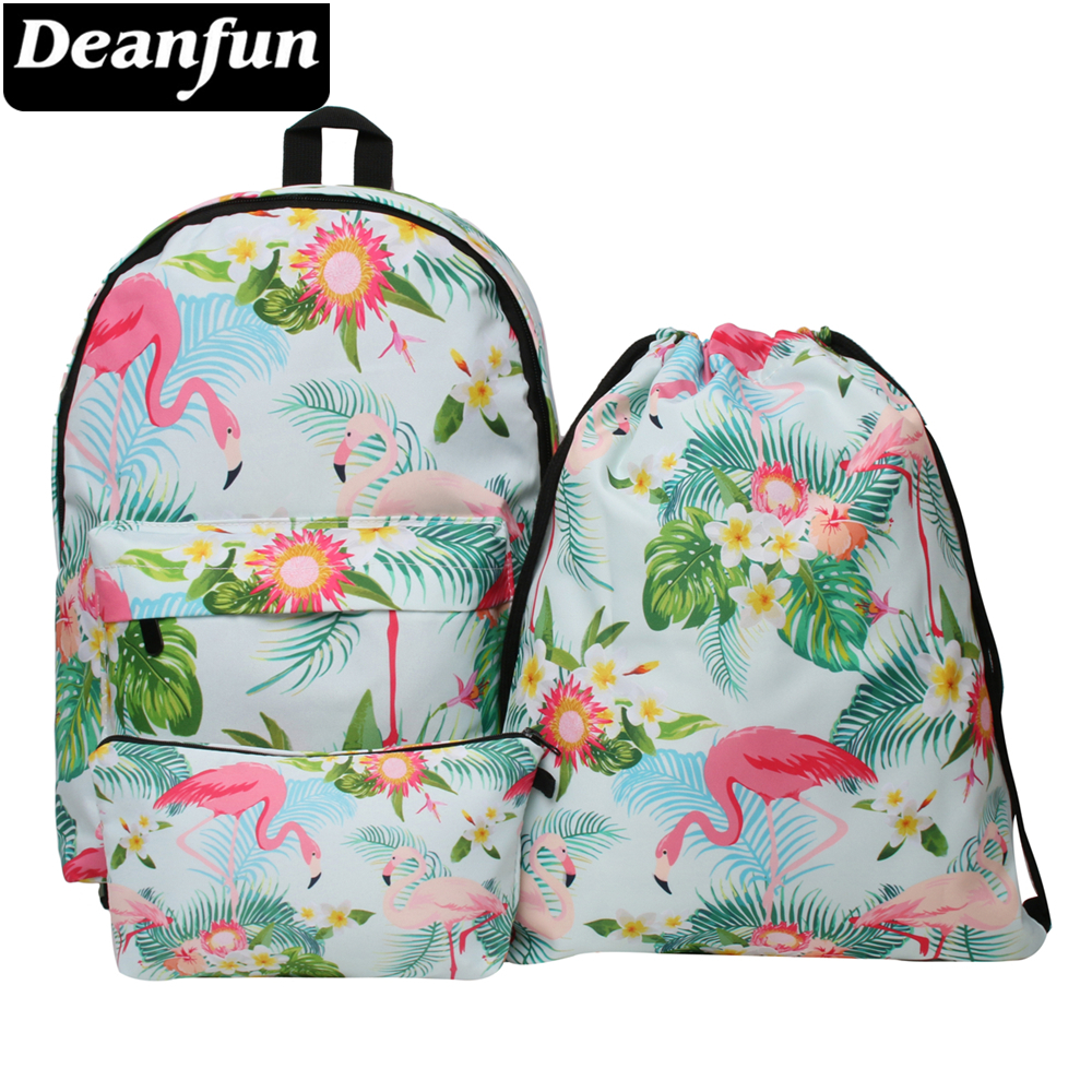 все цены на Deanfun Waterproof School Backpacks Women Flamingo School Backpack Cute School Bag for Teenage Girls Kawaii Knapsack онлайн