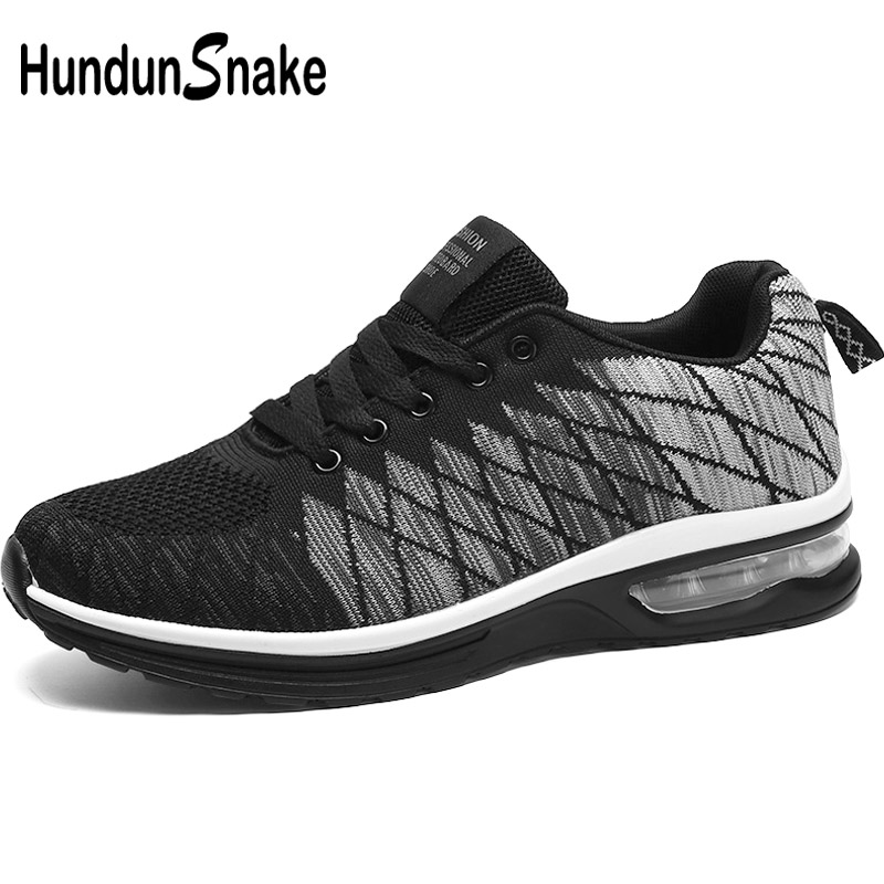 Hundunsnake Summer Men Running Shoes Sports Air Cushion Women Sneakers Male Mesh Basket Shoe Men Breathable Zapatilla Black G-24