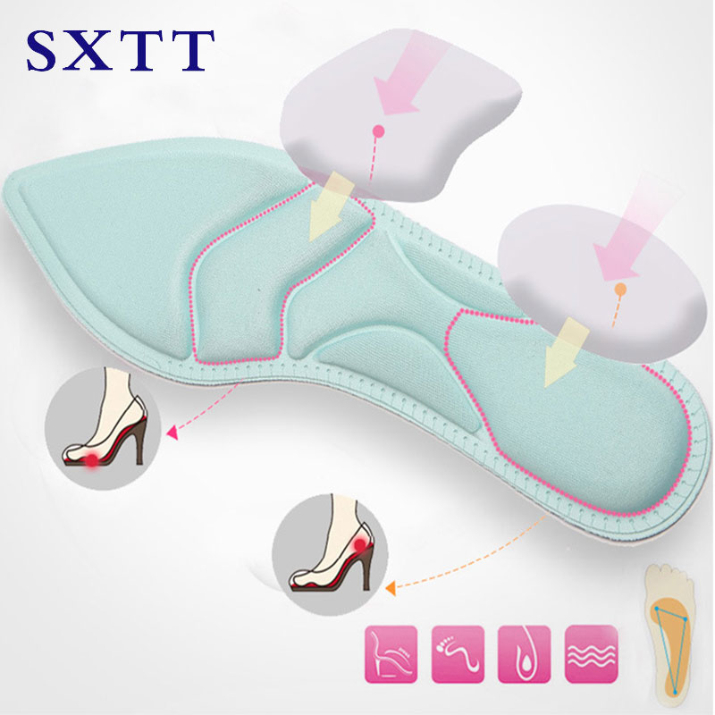 SXTT-4D Sport Sponge Soft Insole High Heel Shoe Pad Pain Relief Insert Cushion Pad