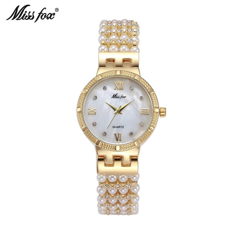 ФОТО Miss Fox Stainless Steel Alloy Core Ladies Watch Waterproof Watch Pearl Diamond Watches Pearls Female Quartz Watch