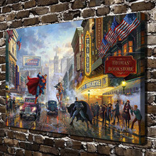 H1391 Thomas Kinkade Superman Batman Street .HD Canvas Print Home decoration Living Room bedroom Wall pictures Art painting