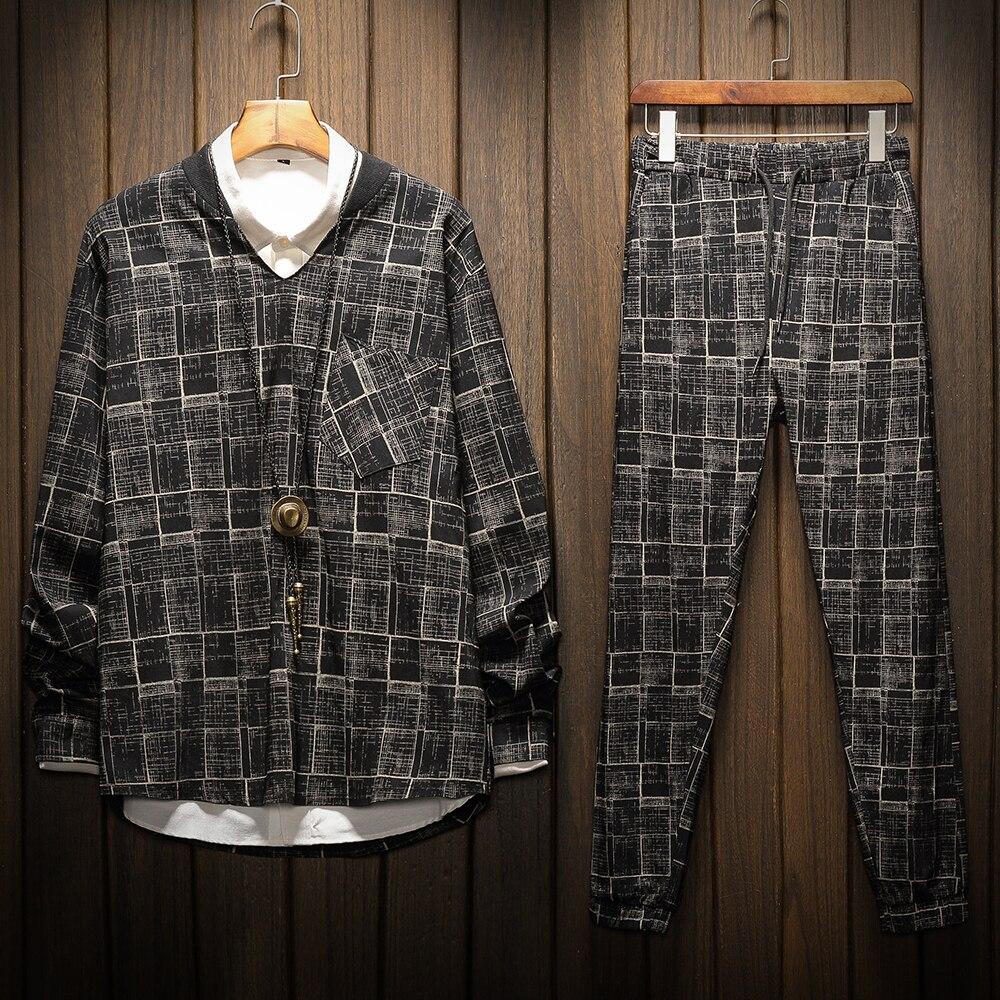 Men's Sets Spring Autumn Fashion Plaid Plus Size Men Sportswear+pants Hip Hop  Tracksuit For Men 2 Pieces Set 5XL