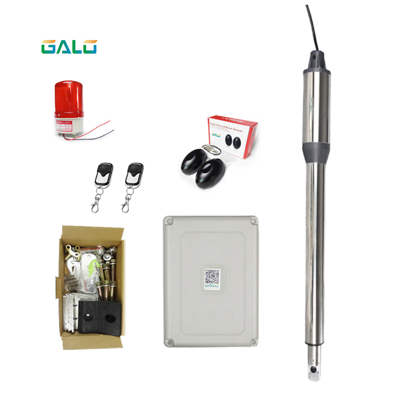 galo Single piece automatic swing gate opener motors for 300kg gate 2 remote controls 1 warning light galo 300 kg double arms swing gate opener door motor kit with 1 pair of photocells 1 alarm light