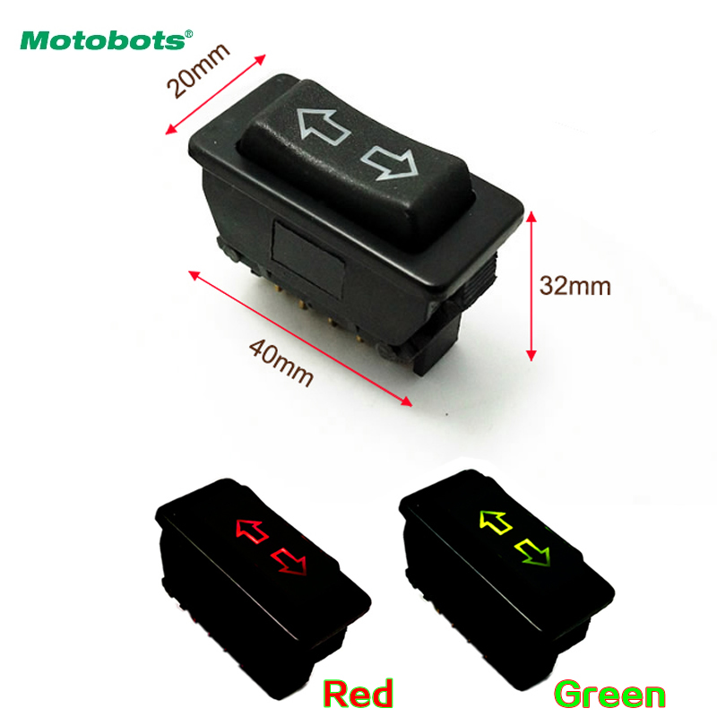 MOTOBOTS 1Pc Green/Red Universal Double Arrow 5pins Car Power Window Switch 12V/24V 20A With Illumination Indicator #CA4494