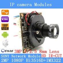 """SONY IPC Hi3516D IMX322 1920×1080 P 1/2.8 """"Placa do Módulo de Câmera 2.0MP IP 3MP Lente de 8mm Câmera de Segurança + HD IR-CUT"""