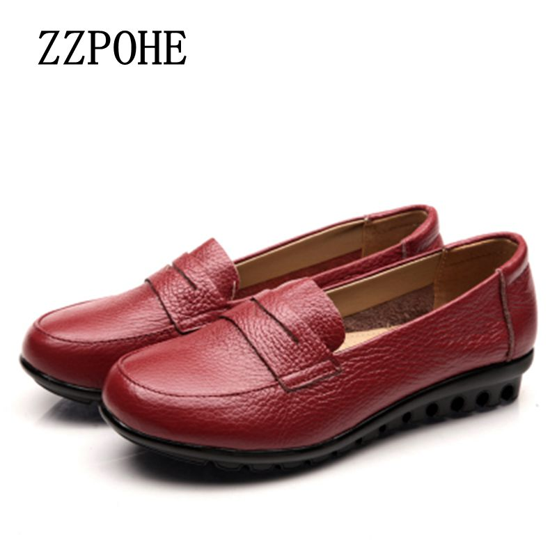 ZZPOHE New mothers Fashion Genuine Leather single shoes soft comfortable elderly flat shoes anti-skid large size women shoes 2017 60 year old 70 grandmother jacket in the elderly mothers installed women s winter 80 elderly lady down jacket