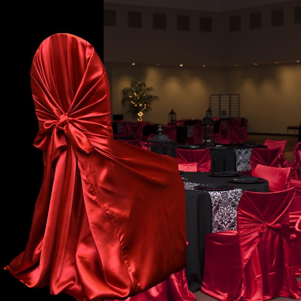 50 pcs raso copertura della sedia universale per la cerimonia nuziale da annodare copertura della sedia per il Partito Ristorante di cerimonia nuziale favori di partito con alta qualità-in Coprisedia da Casa e giardino su  Gruppo 3