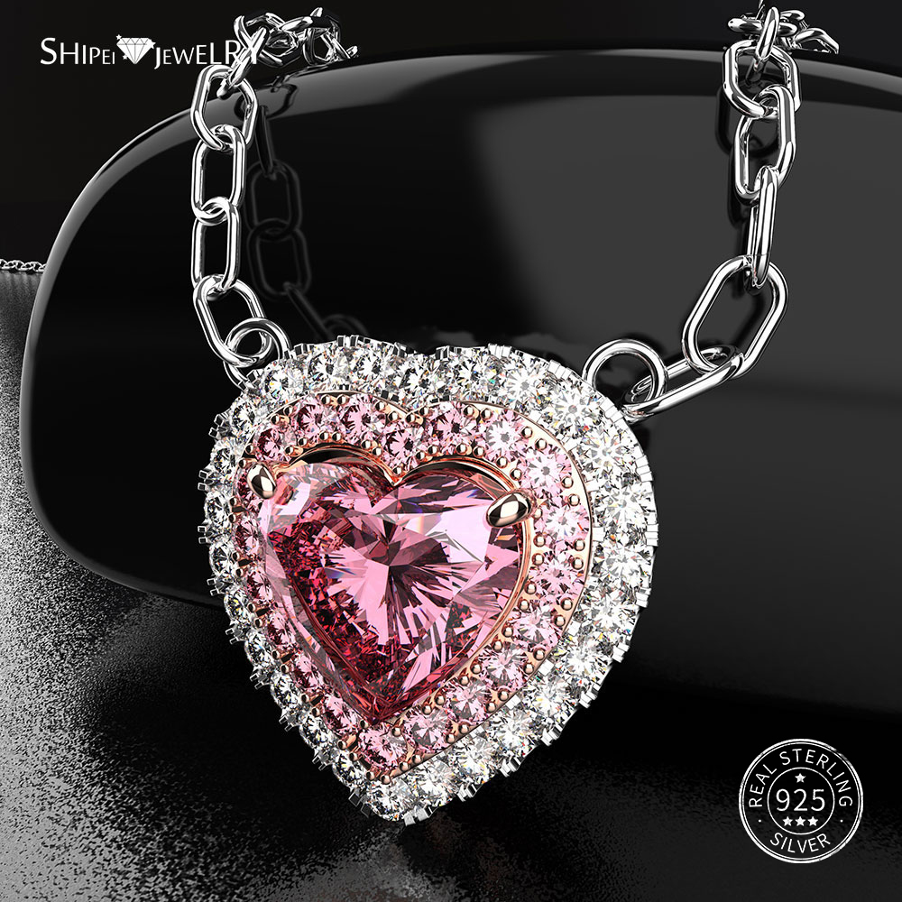 Shipei 100% 925 Sterling Silver Heart Necklace Fine Jewelry Pink Sapphire Heart Pendant Necklace for Women Anniversary Gift