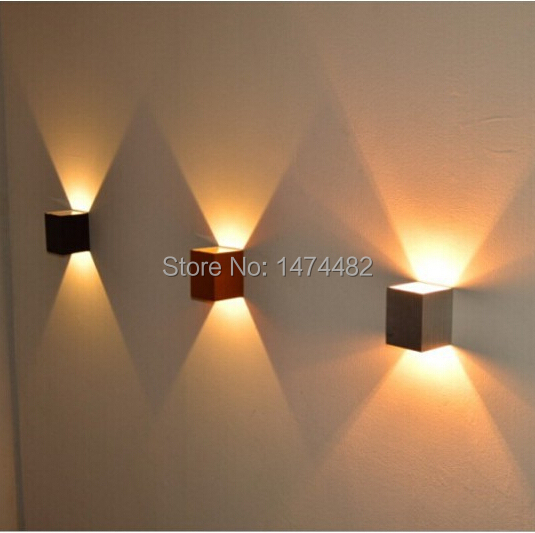 Modern square led wall light 3w 2pcs luminaire wall lamp for Luces de pared interior