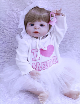 55cm Baby Sleeping Dolls full Silicone Reborn Doll Girl Boy Shower Toys Early Education Dolls Pink Princess Birthday Gift Kid's