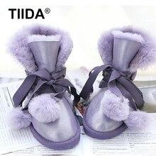 TIIDA Top Qualityแฟชั่นผู้หญิงรองเท้าหิมะของแท้หนังแกะหนังรองเท้า100%ขนธรรมชาติขนสัตว์อบอุ่นบู๊ทส์ในช่วงฤดูหนาวรองเท้าผู้หญิง