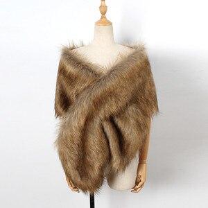Image 5 - MIARHB Women Scarf Faux Fox Fur Long Shawl Wrap Shrug Scarf Pashmina Bridal Wedding Winter Thick Warm stola echarpe hiver femme