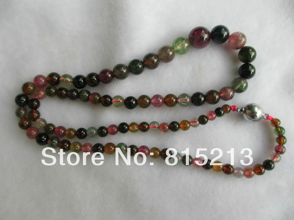 FREE SHIPPING>>> HOT1247 4 10mm Natural Multi Color Tourmaline Bead necklace
