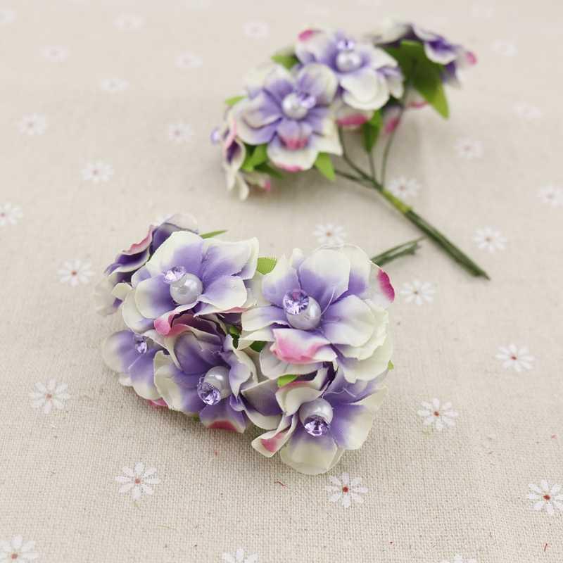 6pcs pearl silk cheap Artificial Flowers garland head wreaths For wedding car decoration bouquet decorative corsage fake flower
