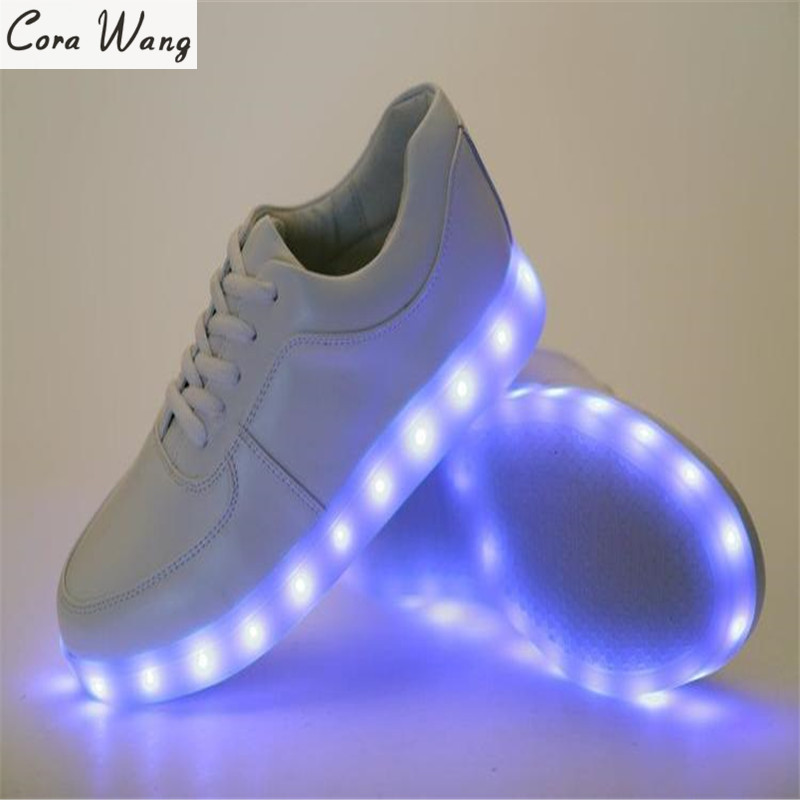 CORA WANG Led shoes  Lumineuse Luminous Casual Men Light Up Shoe With Lights For Adults Mens Femme BLS702A