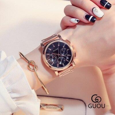 2017 New listing Women's Fashion Rhinestone watches women Luxury Brand Full stainless steel quartz Ladies watch relogio feminino
