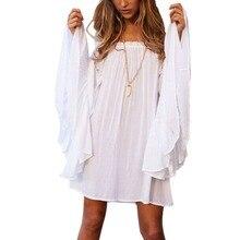Для женщин Свободные Flare рукавом шифоновое летнее платье Sexy Boho Стиль пляжное платье Новый стиль леди белые свободные Мини-платья размеры S-XL