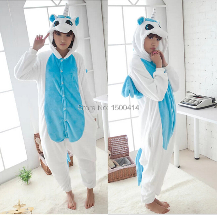 Halloween Karneval Masquerade Party Animal Cosplay Unisex Kostým Obloha Modrá vs Bílá Unicorn Onesie Pajama Pro dospělé (bez pantofle)