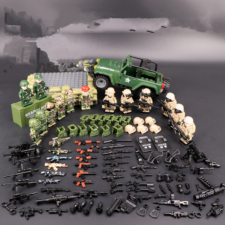 Special Forces Policemen Military DIY Weapon Accessories DIY  Building Block Brick Original Mini Figures Toy Gift