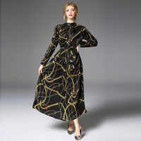 Brand Runway Vestidos Longo Women's Flower Print 2018 Spring Autumn Pleated Chain Dresses Elegant Black Long Sleeve Maxi Dress