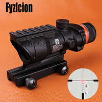 Fyzlcion Hunting ACOG 4X32 Scope Real Fiber Optic Red Green Illuminated Weaver Picatinny Rail Mount Tactical